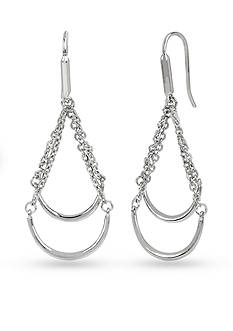 Kenneth Cole Silver-Tone Double Bar And Chain Chandelier Earrings