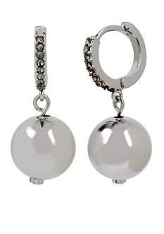 Kenneth Cole Silver-Tone Ball Huggie Hoop Earrings