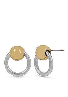Kenneth Cole Two-Tone Door Knocker Button Earrings