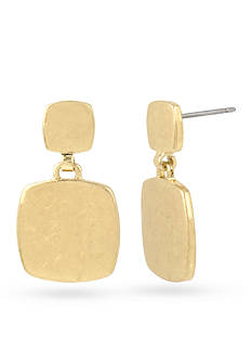 Kenneth Cole Gold-Tone Geometric Square Double Drop Earrings