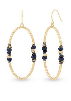Kenneth Cole Mixed Semiprecious Blue Sandstone Bead Oval Gypsy Hoop Earring