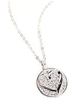 Belk Silverworks Open Heart Crystal Pendant Necklace