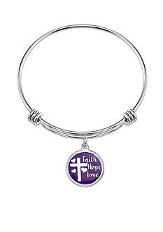 Belk Silverworks Stainless Steel Faith Hope Love Bangle Bracelet