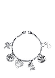 Belk Silverworks Stainless Steel 'I Love My Family Tree' Charm Link Bracelet