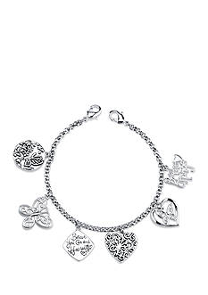 Belk Silverworks Stainless Steel Be the Change Butterfly and Heart Charm Link Bracelet