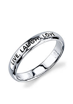 Belk Silverworks Sterling Silver 'Live Laugh Love' Band Ring