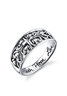Belk Silverworks Sterling Silver 'Faith Hope Love' Cross Ring