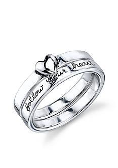 Belk Silverworks Sterling Silver 'Follow Your Heart' Ring Set