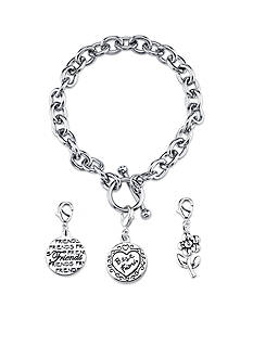 Belk Silverworks Stainless Steel Best Friends Round Toggle Charm Link Bracelet Set