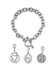 Belk Silverworks Stainless Steel Grandma Charm Toggle Link Bracelet Set