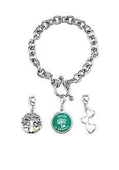 Belk Silverworks Stainless Steel Family 3 Piece Charm Toggle Link Bracelet Set