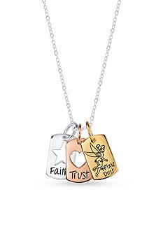 Belk Silverworks Sterling Silver Three Piece Disney Faith Trust & Pixie Dust Heart Tinkerbell Necklace