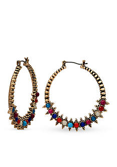 New Directions Gold-Tone Bead Fusion Beaded Hoop Earrings