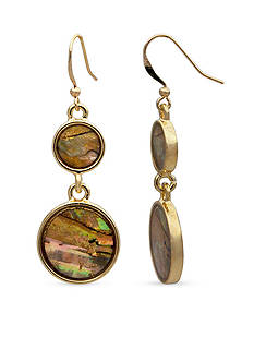 ND New Directions Gold-Tone Abalone Double Drop Earrings