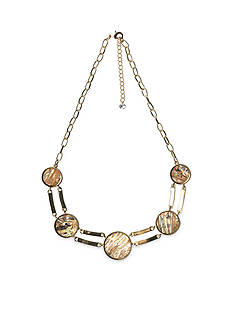 New Directions Gold-Tone Abalone Circle Double Bar Statement Necklace