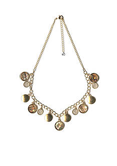 New Directions Gold Tone Abalone Circle Drop Chain Necklace