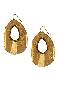 Jessica Simpson Gold Tone Core Ruffle Drop Earring