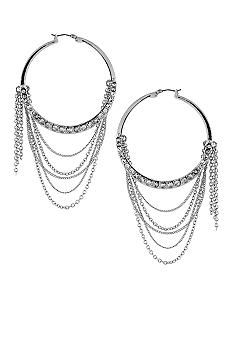 Jessica Simpson Baroque Chic Silver Chain Hoops