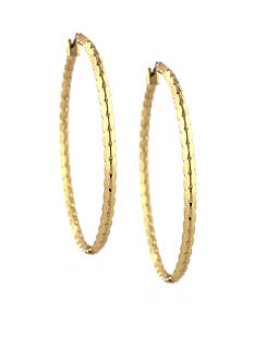 Jessica Simpson Gold Scalloped Hoop Earrings