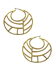 Jessica Simpson Gold Princess Cut Out Hoop Earrings