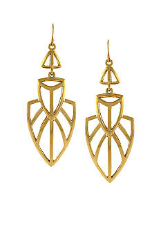 Jessica Simpson Gold Princess Geometric Drop Earrings