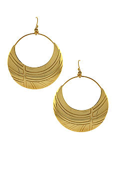Jessica Simpson Gold Princess Drop Hoop Earrings