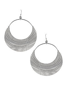 Jessica Simpson Silver Princess Drop Hoop Earrings