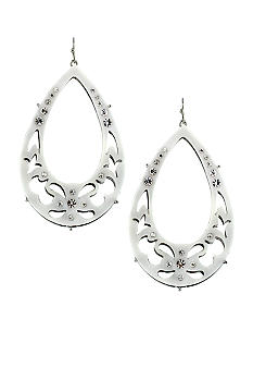 Jessica Simpson All a Flutter White Teardrop Hoop Earrings