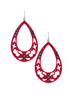 Jessica Simpson Starry Sky Hot Pink Tear Drop Hoop Earrings