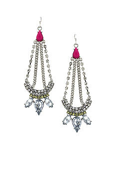 Jessica Simpson Fuchsia Tropic Nights Chandelier Earrings