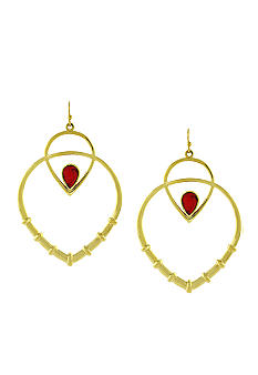 Jessica Simpson Desert Traveler Pointed Drop Hoop Earrings