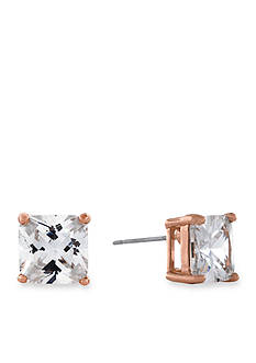 Jessica Simpson Rose Gold-Tone Square Crystal Stud Earrings
