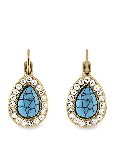 Jessica Simpson Turquoise Lever Back Earrings