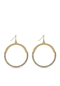 Jessica Simpson Hoopnotic Pave Drop Hoop Earrings