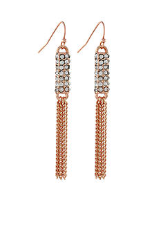 Jessica Simpson Rose Gold-Tone Pave Barrel Tassel Linear Drop Earrings