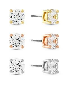 Jessica Simpson Tri-Tone Cubic Zirconia Triple Earring Set
