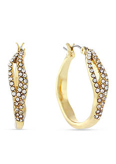 Jessica Simpson Gold-Tone Twisted Pave Crystal Large Hoop Earrings