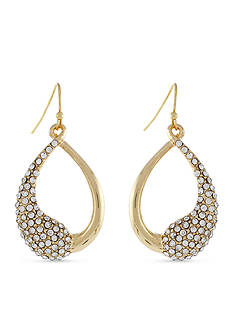 Jessica Simpson Gold-Tone Twisted Pave Half Crystal Open Drop Earrings