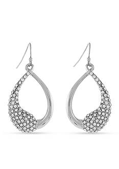 Jessica Simpson Silver-Tone Twisted Pave Half Crystal Open Drop Earrings