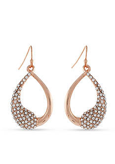 Jessica Simpson Rose Gold-Tone Twisted Pave Half Crystal Open Drop Earrings