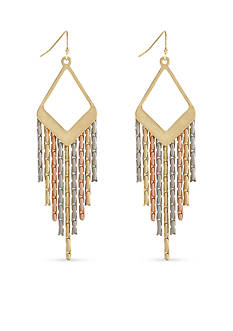 Jessica Simpson Tri-Tone Drop Earrings