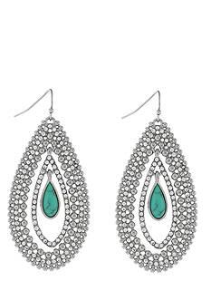 Jessica Simpson Silver-Tone Crystal Teardrop Earrings