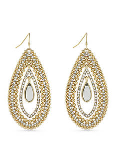 Jessica Simpson Gold-Tone Crystal Teardrop Earrings