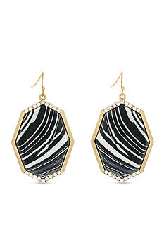 Jessica Simpson Gold-Tone Zebra Drop Earrings