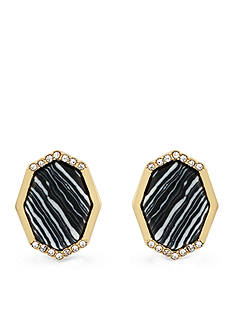 Jessica Simpson Gold-Tone Zebra Stud Earrings