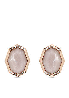 Jessica Simpson Rose Gold-Tone Pink Stud Earrings
