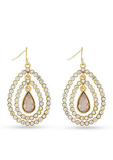 Jessica Simpson Gold-Tone Feather Burst Teardrop Earrings