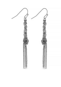 Jessica Simpson Silver-Tone Braid and Knot Drop Earrings