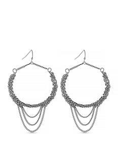 Jessica Simpson Silver-Tone Braided Gypsy Hoop Earrings