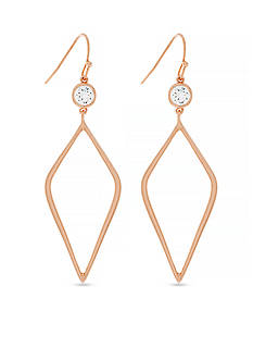 Jessica Simpson Rose Gold-Tone Del Metal Stones Cubic Zirconia Drop Earrings